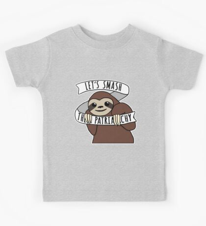 "Feminist Sloth ""Smash the Patriarchy"" Kids Tee"