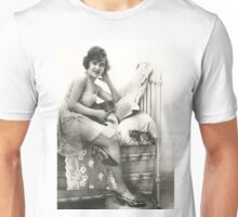 A vintage photo of a Lady Sitting on her bed Unisex T-Shirt