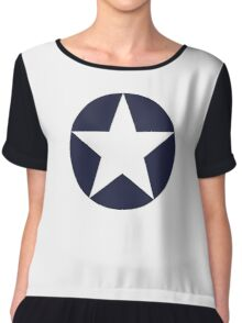 AMERICAN, WAR, Roundel, United States Air Force, Aircraft operated by the United States Navy and United States Marine Corps Chiffon Top