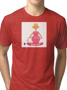 Pregnant woman doing yoga : isolated on white background Tri-blend T-Shirt