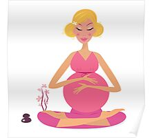 Pregnant woman doing yoga : isolated on white background Poster
