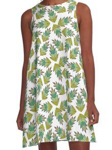 motif feuilles d'automne tons de vert A-Line Dress