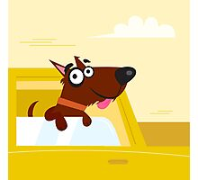 Happy brown dog travel in the car. VECTOR ILLUSTRATION Photographic Print