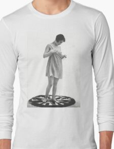 Lady standing on a rug Vintage photograph Long Sleeve T-Shirt