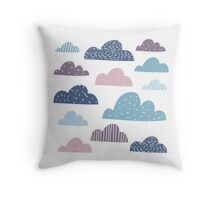 Silly happy clouds Throw Pillow
