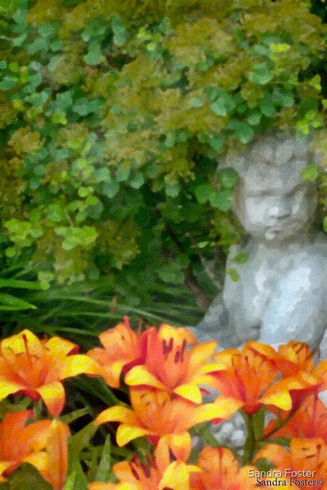 Garden Girl And Orange Lilies Digital Watercolor by Sandra Foster