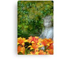 Garden Girl And Orange Lilies Digital Watercolor Canvas Print