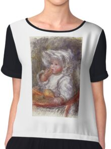Renoir Auguste - Jean Renoir In A Chair Child With A Biscuit Chiffon Top