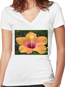 Orange hibiscus and dew drops Women's Fitted V-Neck T-Shirt