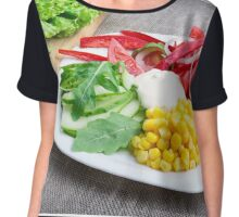 Healthy dish made from natural  ingridients Chiffon Top