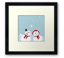 Valentine´s Day: Snowman & Snow - woman Framed Print