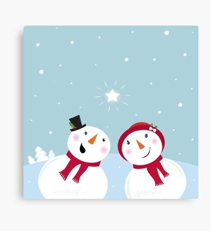 Valentine´s Day: Snowman & Snow - woman Canvas Print