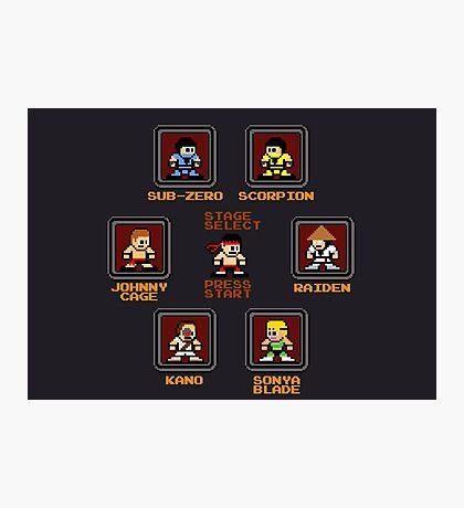 8-bit Mortal Kombat 'Megaman' Stage Select Screen Photographic Print