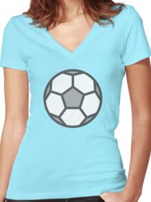 White Soccer Ball / Football Icon Women's Fitted V-Neck T-Shirt