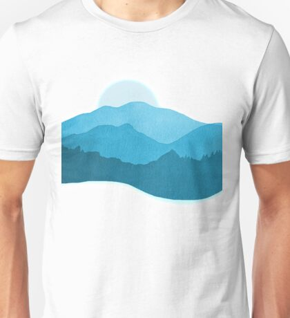 Mountains Dreaming -Watercolor  Blue  Unisex T-Shirt