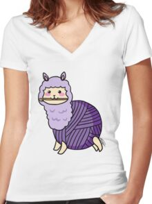 Yarn Alpaca - Purple Women's Fitted V-Neck T-Shirt
