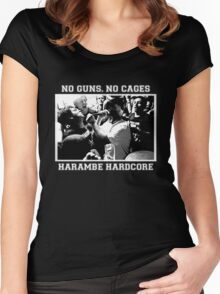 Harambe Hardcore - White Text Women's Fitted Scoop T-Shirt