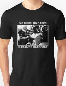 Harambe Hardcore - White Text Unisex T-Shirt