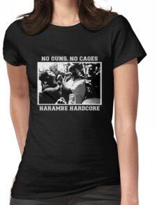 Harambe Hardcore - White Text Womens Fitted T-Shirt