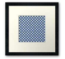 Seamless pattern with polka dot on blue background Framed Print