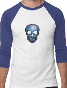 Blue Skull Pattern Men's Baseball ¾ T-Shirt