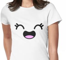Happy Girl Anime Face Womens Fitted T-Shirt