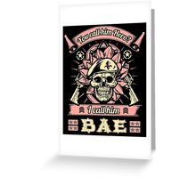 Military Wife Skull Art Soldier Girlfriend Fiance You Call Him Hero I Call Him Bae USA Army Marines USMC Navy Sailor Coast Guard Air Force Special Forces War Veteran Guns Rifle Vintage Grunge Greeting Card