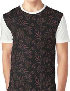 Floral pattern with leaves and branches on black background Graphic T-Shirt