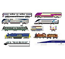 Railway Vehicles - The Kids' Picture Show - 8-Bit Trains Photographic Print