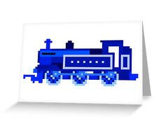 Blue Locomotive - The Kids' Picture Show - 8-Bit Train Greeting Card