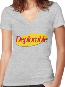 I don't wanna be deplorable! Women's Fitted V-Neck T-Shirt