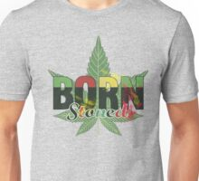 Born stoned - Unisex Stoners Typography With Vintage Weed Leaf Unisex T-Shirt