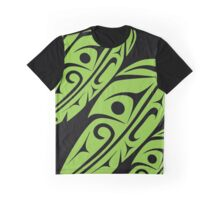 Four Feathers Lime on Black Graphic T-Shirt