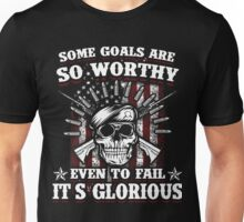 Military Skull Art Soldier Worthy Goals Glorious USA American Flag Army Marines USMC Navy Sailor Coast Guard Air Force Special Forces National Guard War Veteran Guns Rifle Vintage Grunge Unisex T-Shirt