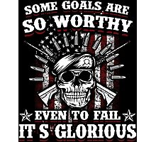 Military Skull Art Soldier Worthy Goals Glorious USA American Flag Army Marines USMC Navy Sailor Coast Guard Air Force Special Forces National Guard War Veteran Guns Rifle Vintage Grunge Photographic Print
