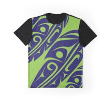 Four Feathers Navy Blue on Lime Graphic T-Shirt