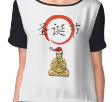 Happy Christmas Meditating Buddha Chiffon Top