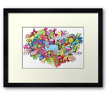 Blue Psychedelic Wale Framed Print