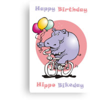 hippo on a bike Canvas Print