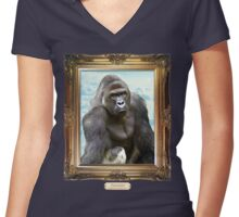 Remember Harambe. Justice For Harambe Women's Fitted V-Neck T-Shirt