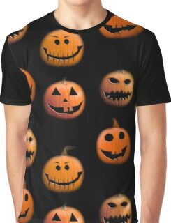 Halloween pumpkins on black Graphic T-Shirt