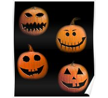 Halloween pumpkins on black Poster