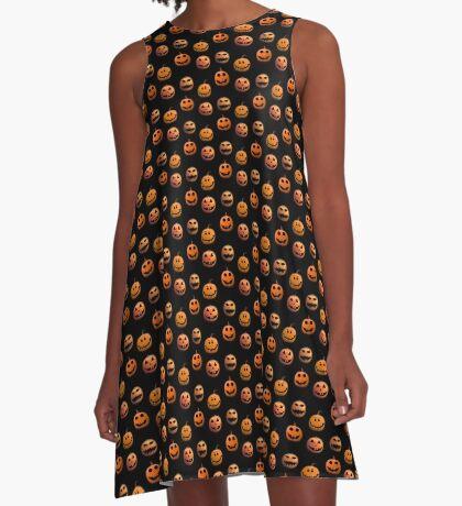 Halloween pumpkins on black A-Line Dress
