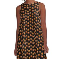 Halloween pumpkins on black A-Line Dress