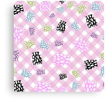 Abstract,pink,white,plaid,diagonal,bits and pieces,pattern,modern,trendy,girly Canvas Print