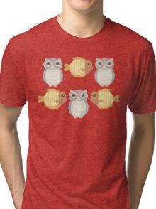 Owls Three and Fish Three Tri-blend T-Shirt