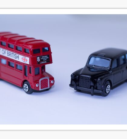 London Routemaster Bus And London Black Cab Sticker