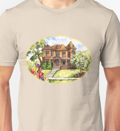 Victorian Mansion in the Spring Unisex T-Shirt
