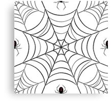 Black Widow Spider Pattern (white) Canvas Print
