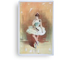 Performing Arts Posters Ballerina in white costume with flowers in dance pose 1496 Canvas Print